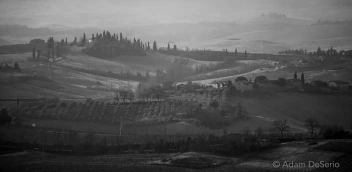 Siena Tuscany Countryside Black and White, Italy